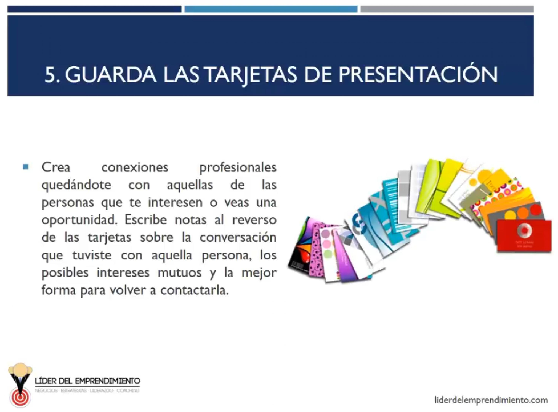 Guarda las tarjetas de presentación