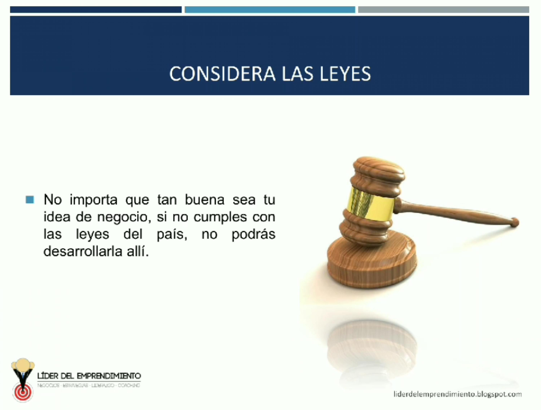 Considera las leyes