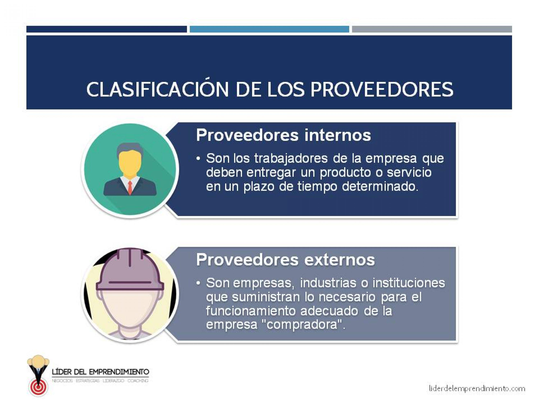 Clasificación de los proveedores